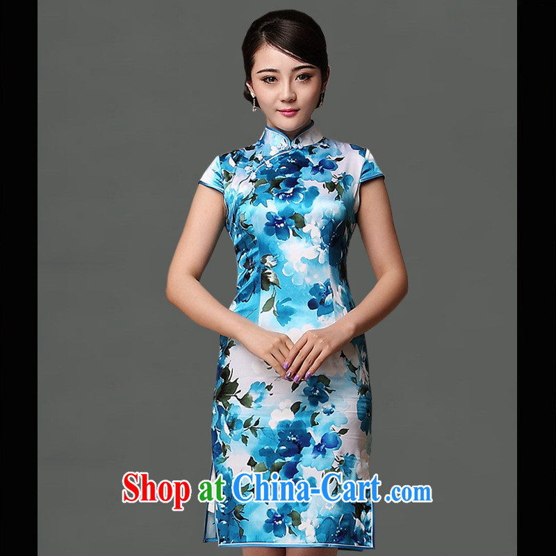 Flags are new, upscale Silk Cheongsam daily appointments improved cheongsam dress elegant pure luxury goods skirt picture color XXL