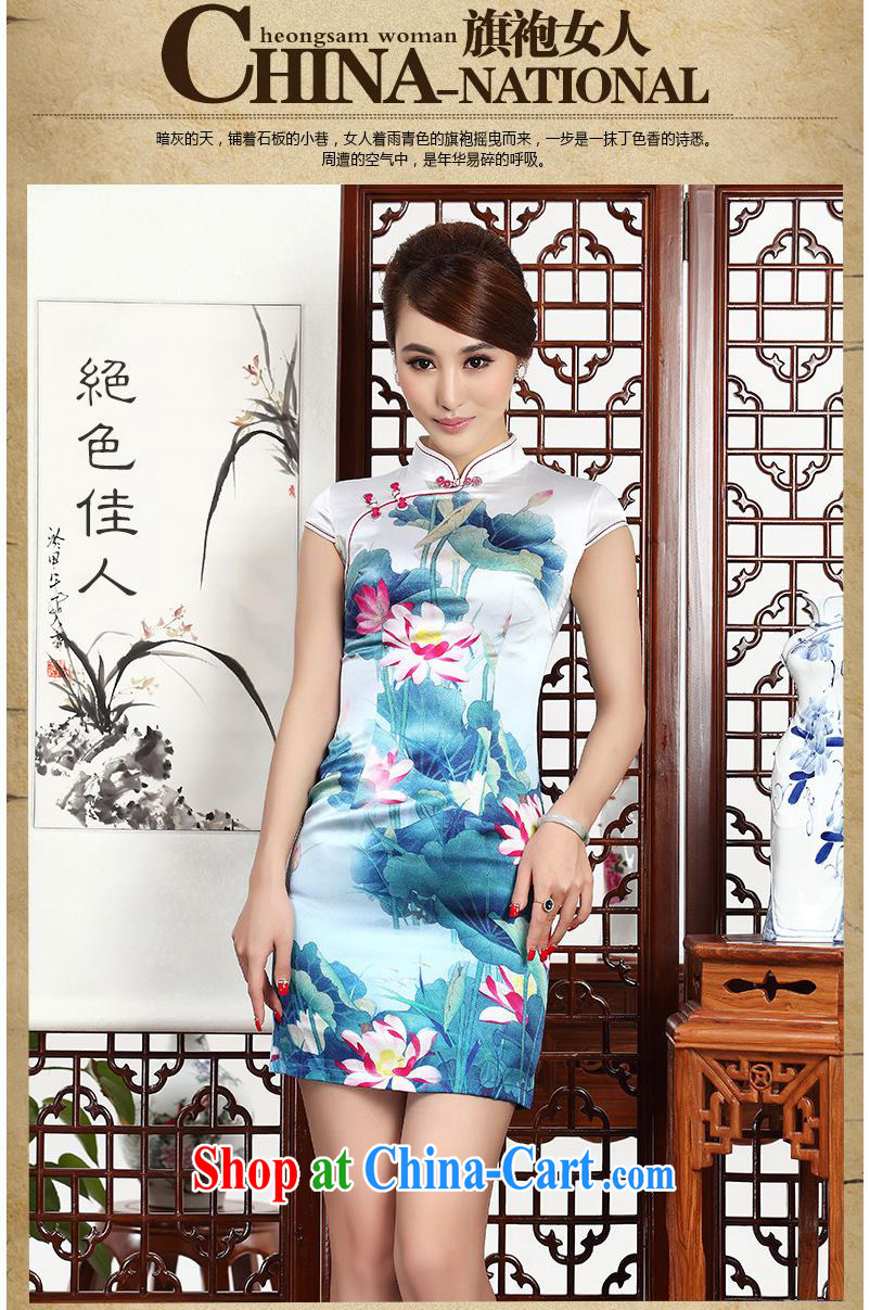 2014 as regards new Silk Cheongsam dress upscale silk retro dresses daily banquet Silk Cheongsam new blue XXL pictures, price, brand platters! Elections are good character, the national distribution, so why buy now enjoy more preferential! Health