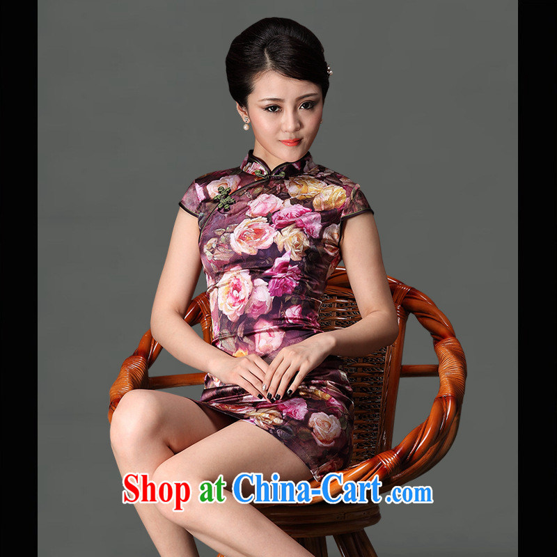 As regards the Summer 2014 spring sauna high silk stylish improved short, Retro cheongsam dress Silk Cheongsam picture color XXXL