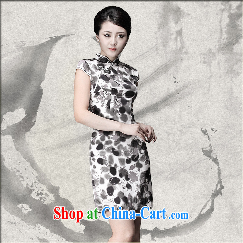 As regards genuine 2014 ink silk short cheongsam elegant and stylish dresses daily Silk Cheongsam dress picture color XXXL