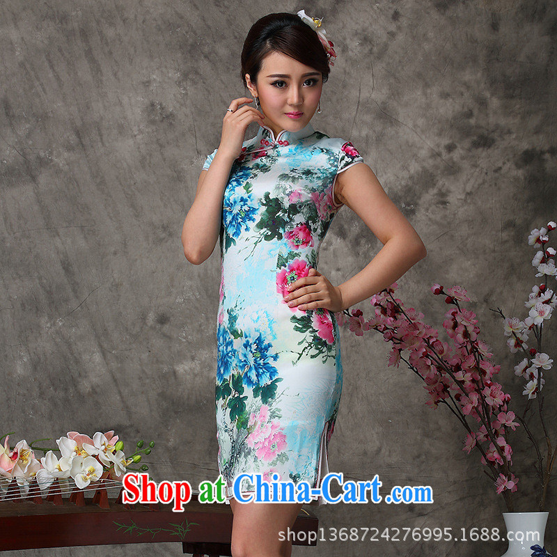 Cycle will soon be smoke silk Chinese qipao dress summer 2014 high quality silk dress elegant graphics thin S-dresses skirts picture color XXL
