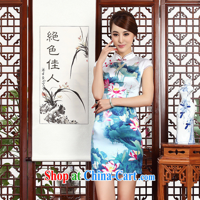 2014 as regards new Silk Cheongsam dress upscale silk retro dresses daily banquet Silk Cheongsam new blue XXL