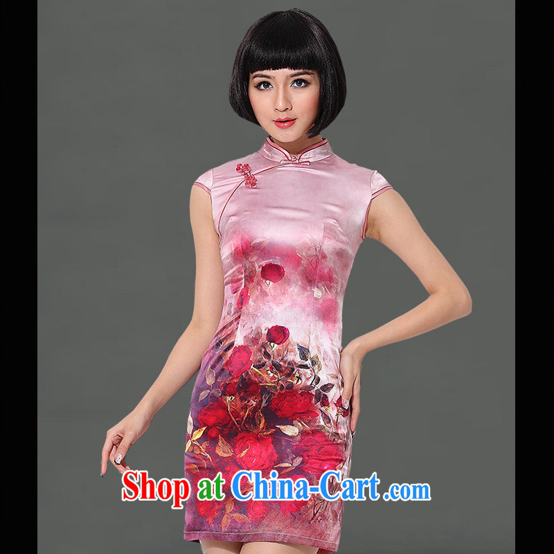 As regards creative first, genuine new Silk short-sleeved short, heavy Silk Cheongsam 2014 daily spring and summer dresses red XXL