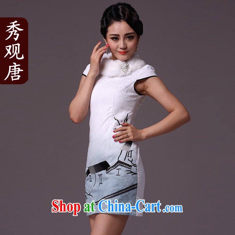 Cyd Ho Kwun Tong 100 D. Park winter clothing qipao 2014 improved stylish folder cotton cheongsam dress/retro G 97,115 white XXL
