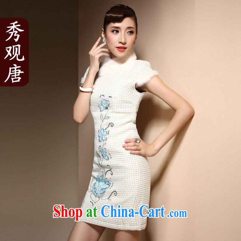 Cyd Ho Kwun Tong Winter Love dresses new 2015 winter clothes retro embroidery wool collar daily folder cotton robes QM 3913 m White XXL