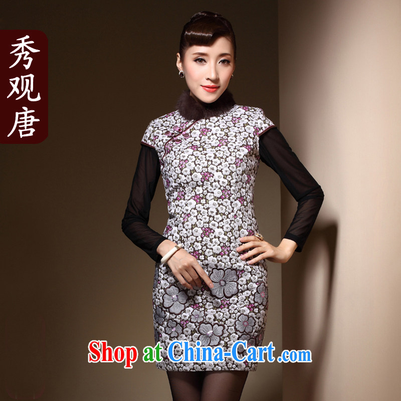 Cyd Ho Kwun Tong 脌卯露 卢脙路 to reply me dresses new 2014 winter clothes for gross daily folder cotton cheongsam dress QM 31,005 fancy XXL