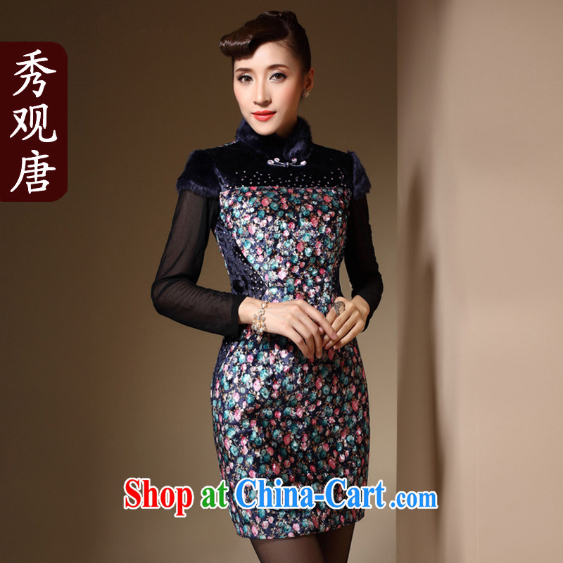 Cyd Ho Kwun Tong Fang rain dresses 2014 new winter clothes floral Chinese hair collar sexy folder cotton cheongsam dress QM 3932 fancy XXXL