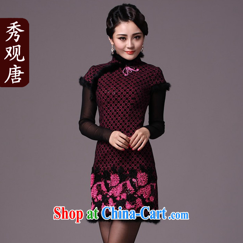 Cyd Ho Kwun Tong red mini-drunk gross winter dresses?/2014 winter clothes new improved cheongsam dress/thick G 97,123 black and red XXL