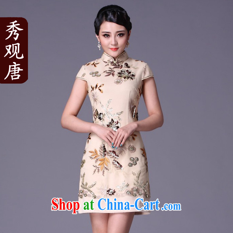 Cyd Ho Kwun Tong Hua Qing thick 2014 new winter clothes cheongsam dress improved stylish short retro dresses G 99,215 m White XXL