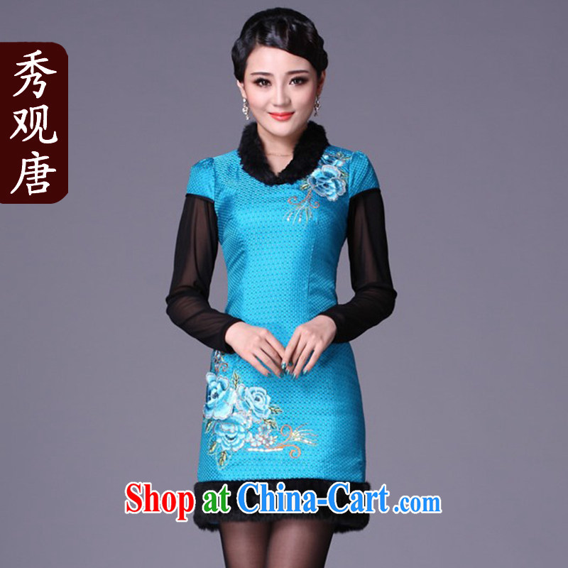 Cyd Ho Kwun Tong Blue Sky winter quilted robes_winter clothes cheongsam_2014 winter cheongsam short G 99,116 blue XL