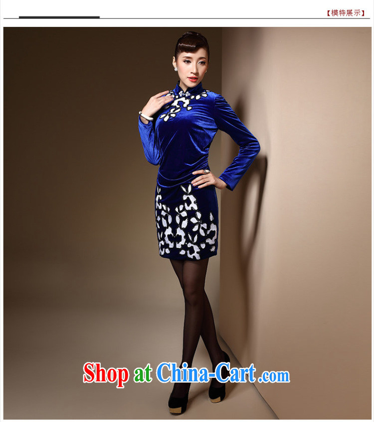 Cyd Ho Kwun Tong Hong Kong blue 2014 autumn and winter, new upscale velvet long-sleeved retro sporting tight embroidery cheongsam dress QC 31,031 royal blue XXL pictures, price, brand platters! Elections are good character, the national distribution, so why buy now enjoy more preferential! Health