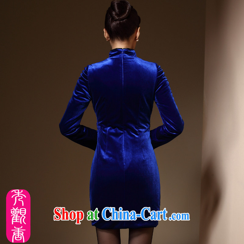 Cyd Ho Kwun Tong Hong Kong blue 2014 autumn and winter, new upscale velvet long-sleeved retro sporting tight embroidery cheongsam dress QC 31,031 royal blue XXL, Sau looked Tang, shopping on the Internet