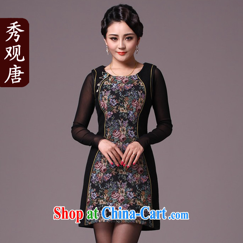 Cyd Ho KWUN TONG rose goddess style improved cheongsam/2015 winter clothing New Folder cotton cheongsam dress G 97,716 fancy L