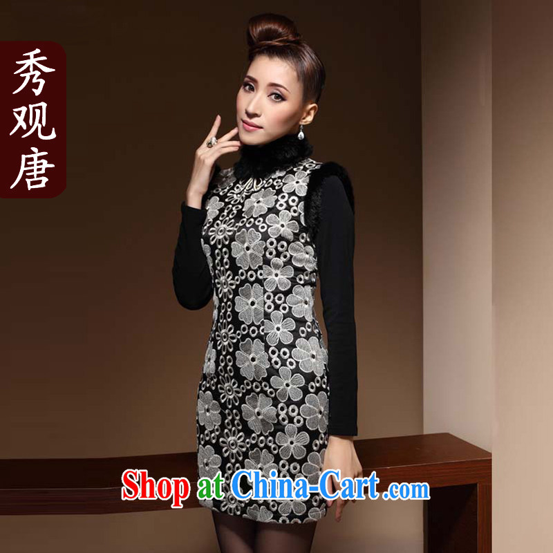 Cyd Ho Kwun Tong snow winter dresses 2015 winter clothes hair collar embroidery improved cheongsam dress QM 3852 black XXXL
