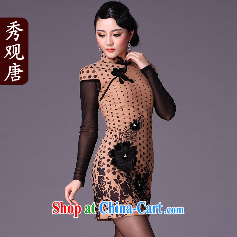 Cyd Ho Kwun Tong M card wave point gross winter dresses?/winter dresses 2015 new/improved cheongsam dress G 95,125 brown XXL