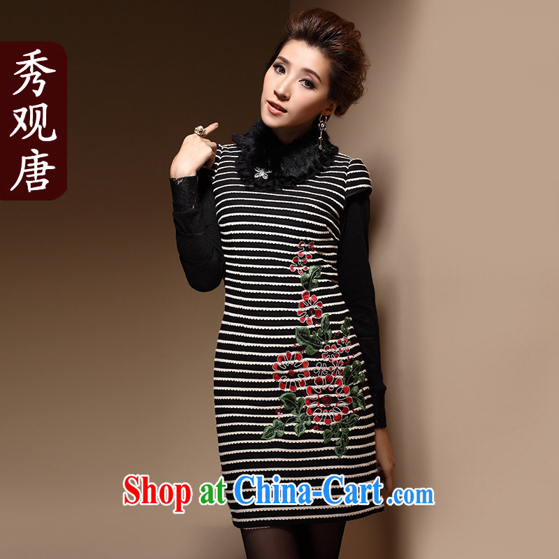 Cyd Ho Kwun Tong Ching-yee folder cotton cheongsam dress winter clothes improved stylish embroidery retro daily gross for women new HM 3929 black and white XXL