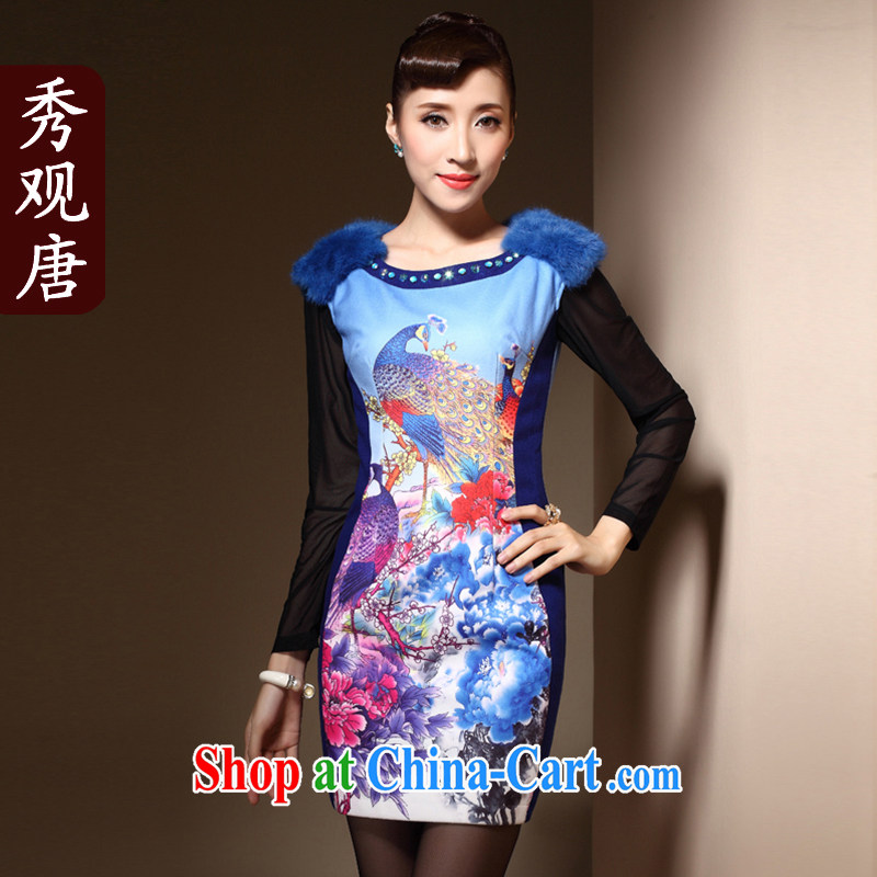 Cyd Ho Kwun Tong birds dance winter cheongsam gross stamp duty is improved cultivating staple Pearl fashion cheongsam dress QM 3914 blue XXL