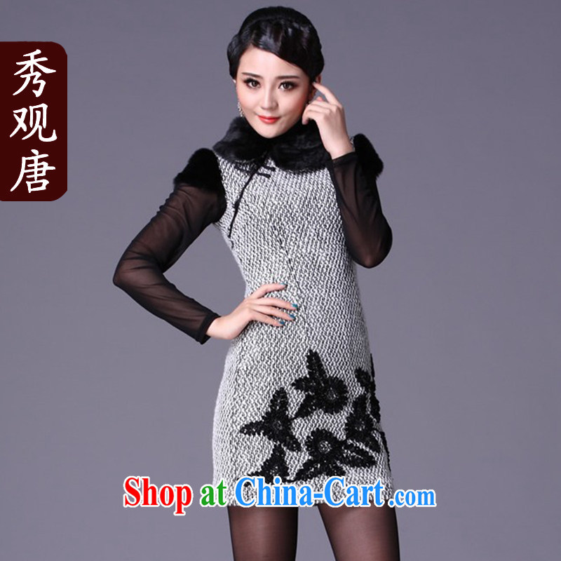 Cyd Ho Kwun Tong chopper dream 2015 winter clothing new cheongsam/fall/winter improved stylish aura cheongsam dress/G 19,113 picture color XXL