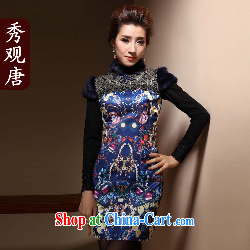 Cyd Ho Kwun Tong Sang-ju winter clothes folder cotton cheongsam dress Daily Beauty stamp National wind cheongsam dress QM 31,035 blue XXL