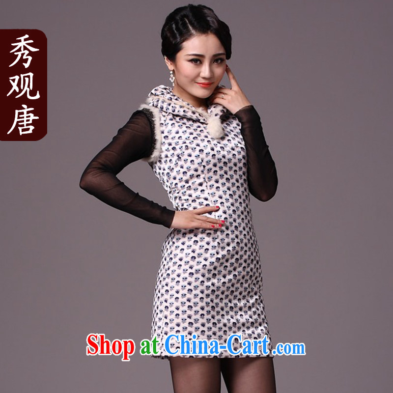 Cyd Ho Kwun Tong small, sister Winter Fashion improved cheongsam_winter clothes 2015 New Folder cotton cheongsam dress G 97,119 white XXL