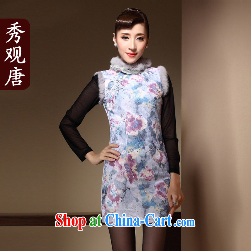 Cyd Ho Kwun Tong's improved cheongsam 2015 winter clothing new Chinese Antique rabbit hair clip cotton dress QM 3912 light blue XXL