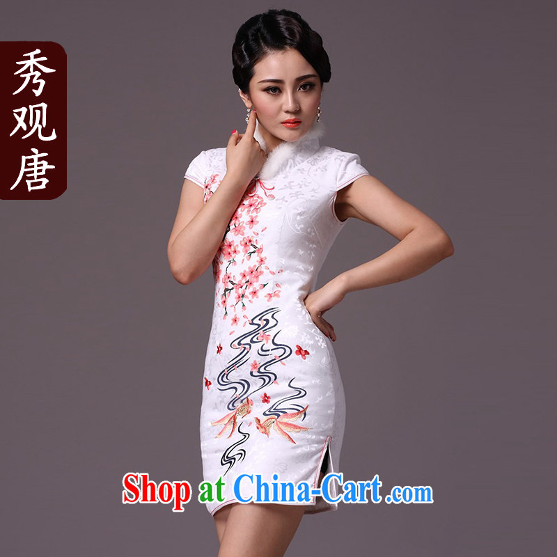 Cyd Ho Kwun Tong Fish South Africa flowers improved stylish winter clothing cheongsam/2015 New Folder cotton cheongsam dress G 97,117 white XXL