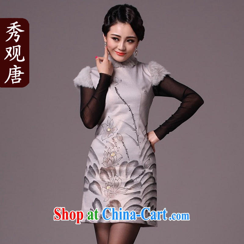Cyd Ho Kwun Tong scored I would be grateful if you could also winter clothes 2015 new improved stylish quilted style cheongsam dress/G 97,112 fancy XXL