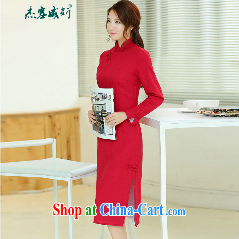 Jack Plug, spring and summer girls retro elegant long cotton MA, for manual for improved long-sleeved Solid Color dresses wine red M
