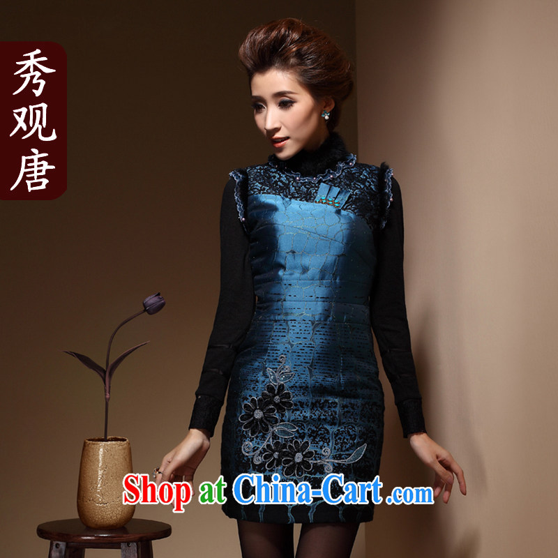 Cyd Ho Kwun Tong winter flower, Chinese folder cotton robes fashion for winter embroidery 2014 New Beauty dresses QM 3915 dark blue XXXL