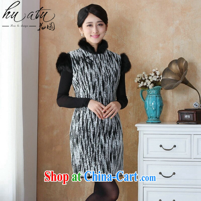 spend the winter cheongsam Chinese thick new dresses for Gross National wind Tang Women's clothes knitting knitting Chinese Dress - 4 3 XL