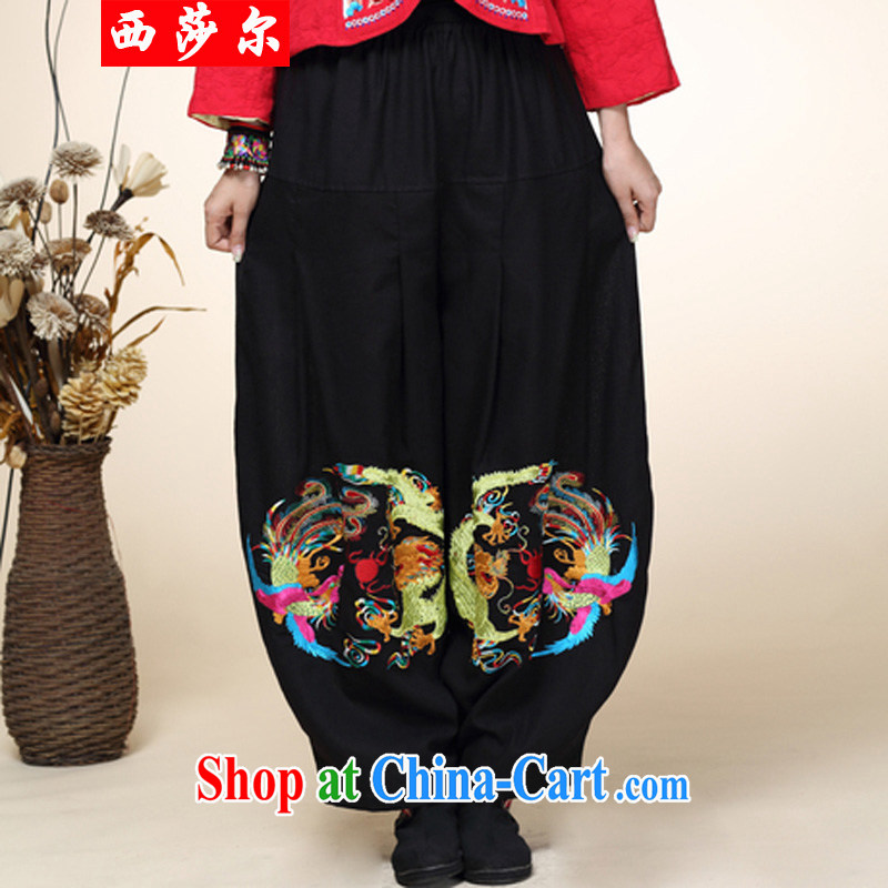 2014 fall and winter new Chinese improved Han-Chinese ethnic wind lantern pants girls pants high-waist 8002 black are code