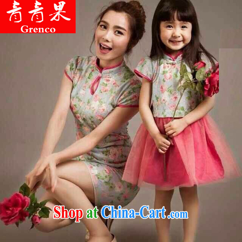 Green fruit European site 2014 female retro lace cheongsam mother and daughter sets the color kids S - 4-year-old