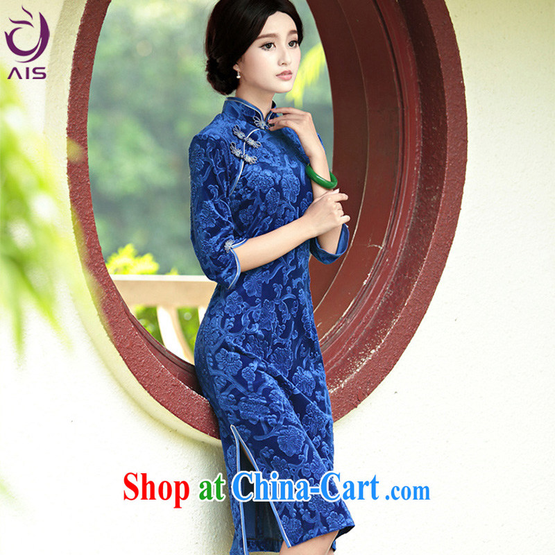 She made the 2014 autumn and winter new upscale style Tang is good wedding evening dress, long dresses, blue XXXXL
