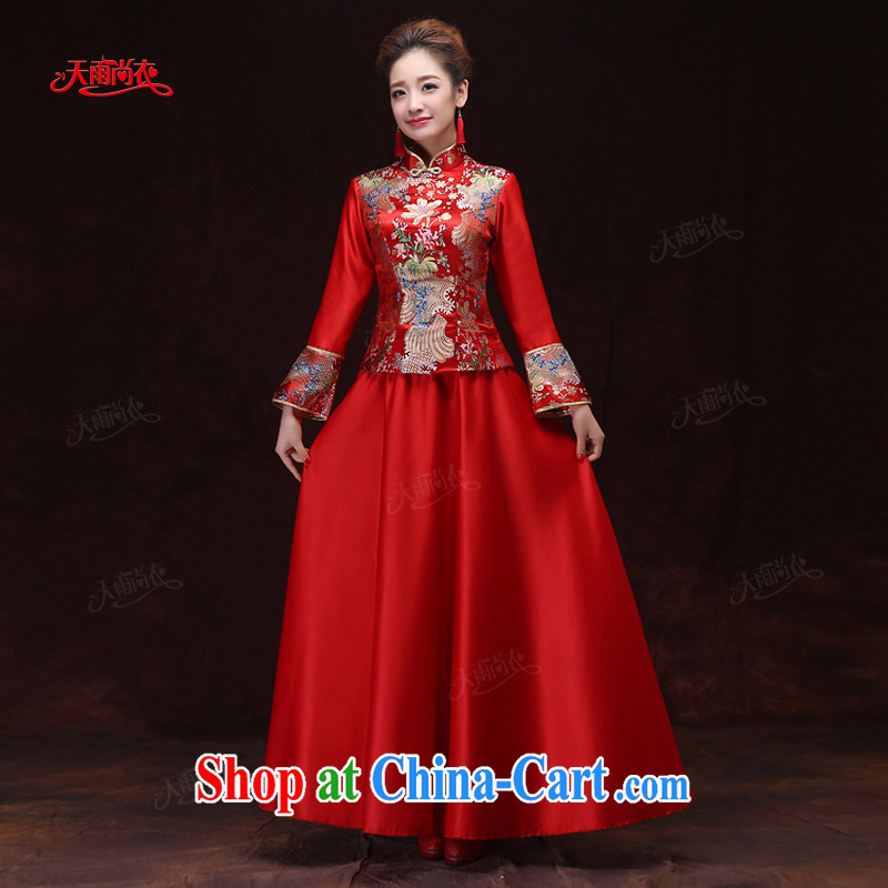 Rain is still Yi 2015 new wedding dresses dresses bridal dresses winter clothing long-sleeved long red dresses winter women cheongsam QP 566 red XL