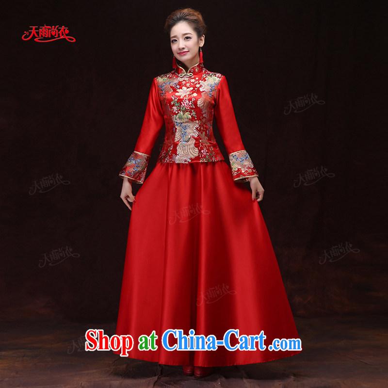 Rain is still Yi 2015 new wedding dresses dresses bridal dresses winter clothing long-sleeved long red dresses winter women cheongsam QP 566 red XL