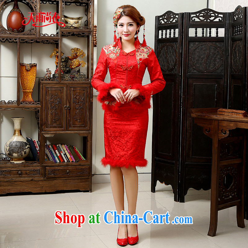 Rain is still Yi 2015 new wedding dresses Chinese hotel serving toast wedding bridal long-sleeved short red winter quilted robes QP 569 red XL