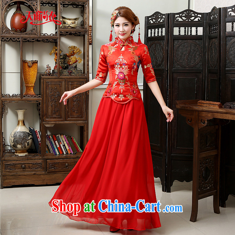Rain was Yi 2015 new wedding dresses bridal dresses winter clothing, long sleeves, red toast winter clothing women dresses QP 570 red XL