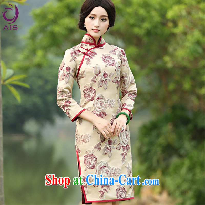 She made the 2014 autumn and winter New Style stamp Tang 9 sub-cuff fashion daily improved cheongsam Kim family XXXL