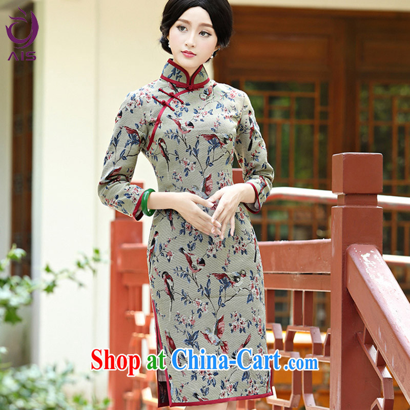Still, the 2014 autumn and winter new style graphics thin Chinese dresses daily long-sleeved improved cheongsam golden XXXL .