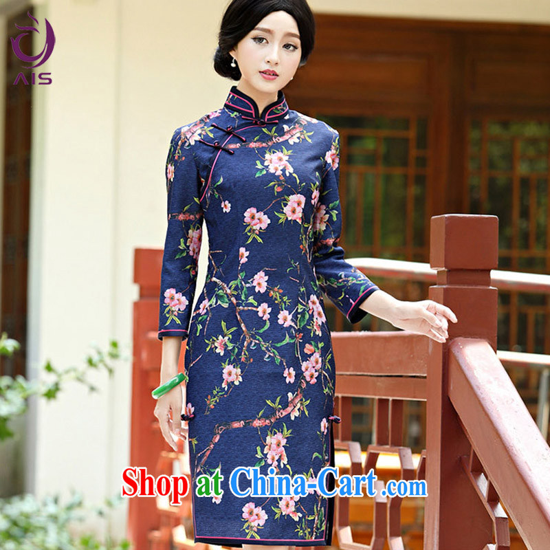 She made the 2014 autumn and winter new retro everyday dress qipao improved 9 cuff Tang with good temperament lady dresses rainy night flower L