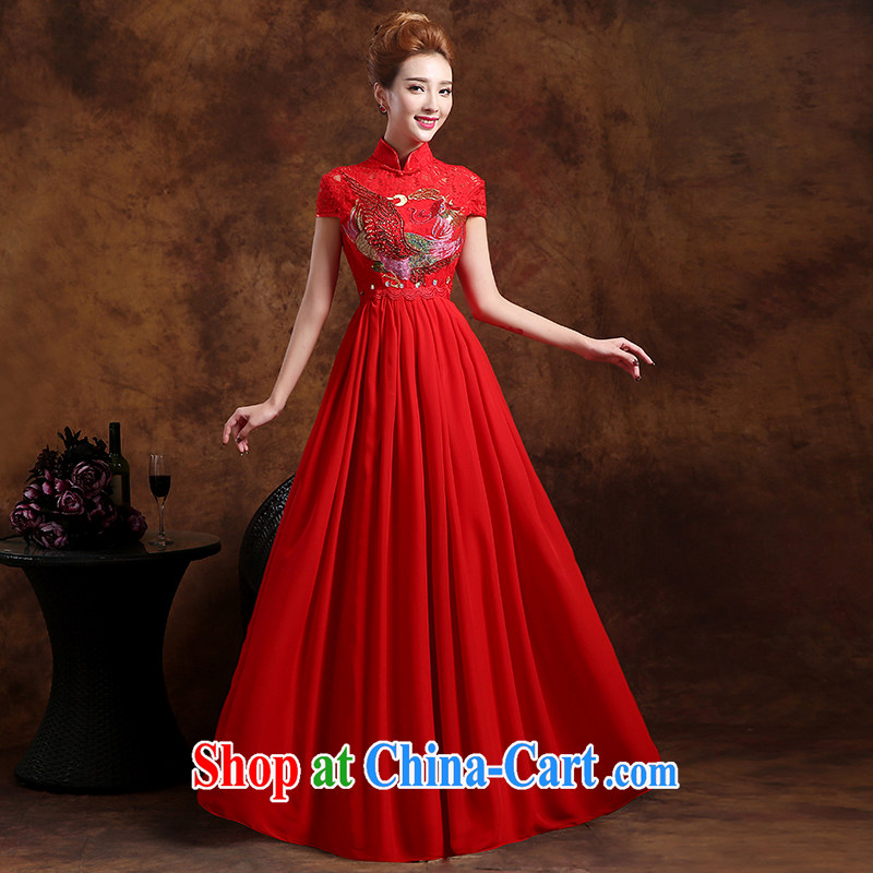 Sophie HIV than high summer wedding dresses 2015 new summer marriages served toast cheongsam dress wedding dress red XXL