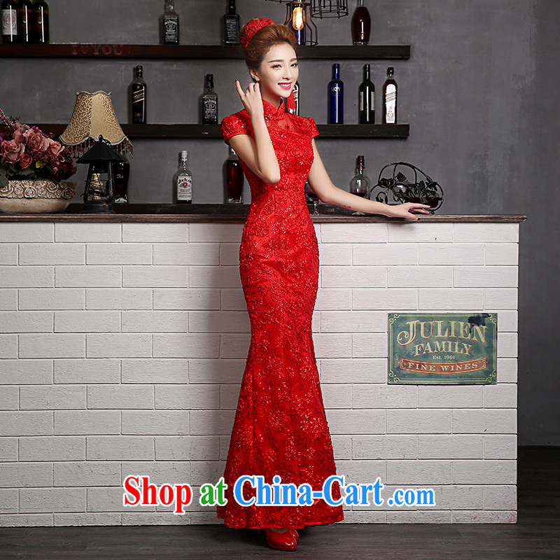 Sophie HIV than toasting service 2015 new summer wedding dresses bridal wedding wedding dresses lace long crowsfoot cultivating graphics thin cheongsam dress female Red XXL