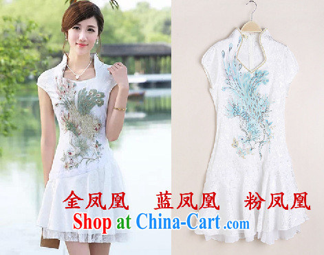 2015 new improved stylish embroidered clothes video waist dresses summer dresses dresses blue Phoenix XL