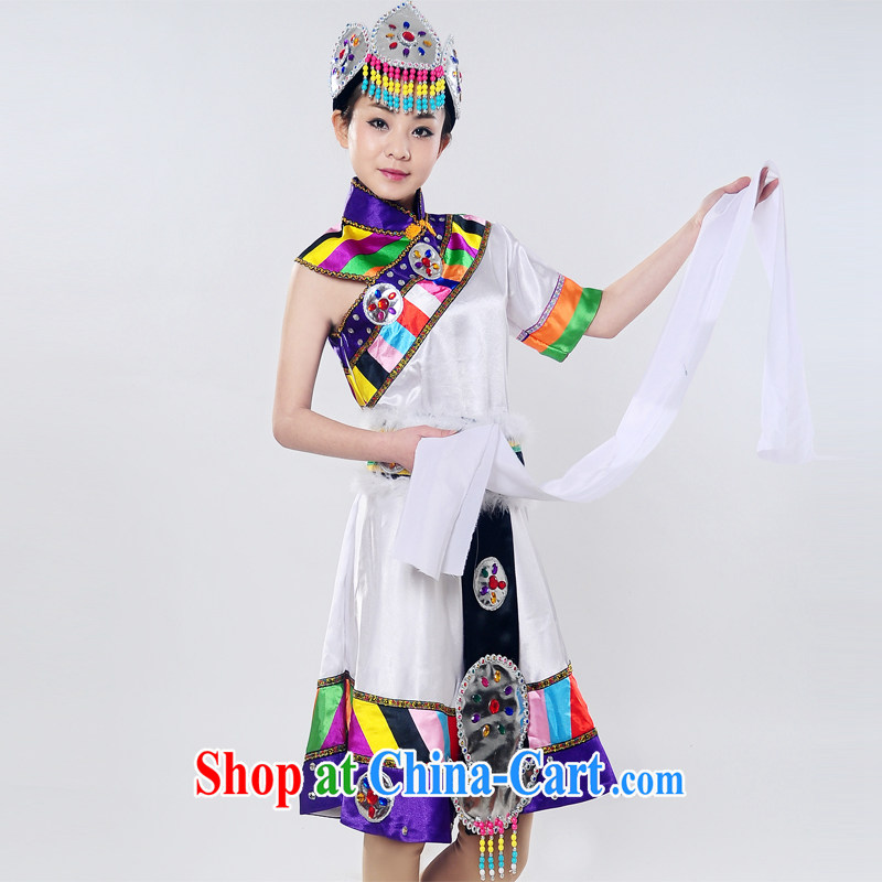 Dual 12 arts dream 2014 new show clothing Snow White Lotus Tibetan dance stage costumes performances costumes HXYM - 0031 white XXXL March 5, shipping