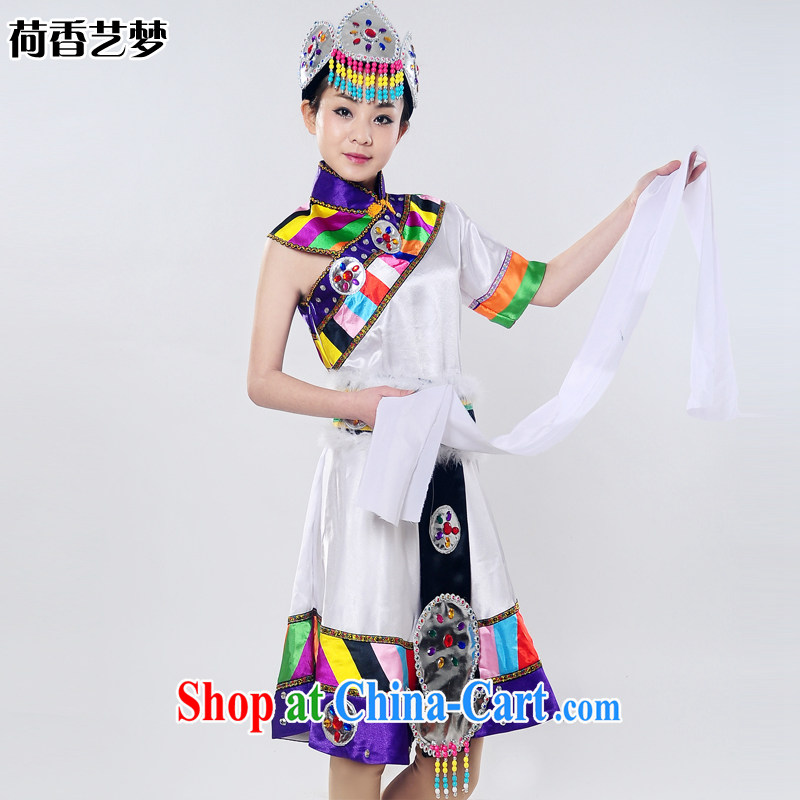 I should be grateful if you would arrange for her dream 2014 new show clothing Snow White Lotus Tibetan dance stage costumes national costume HXYM 0031 white XXL March 5, shipping