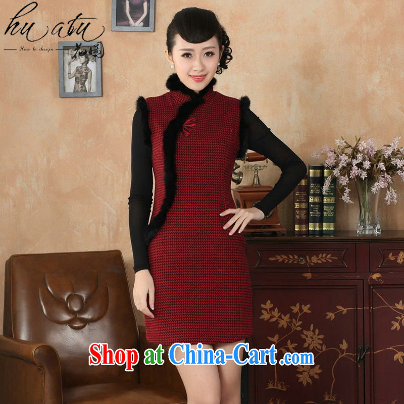 Take the Tang Women's clothes dresses fall and winter with new, for Chinese improved tartan wool? rabbit hair collar cheongsam dress red 2 XL