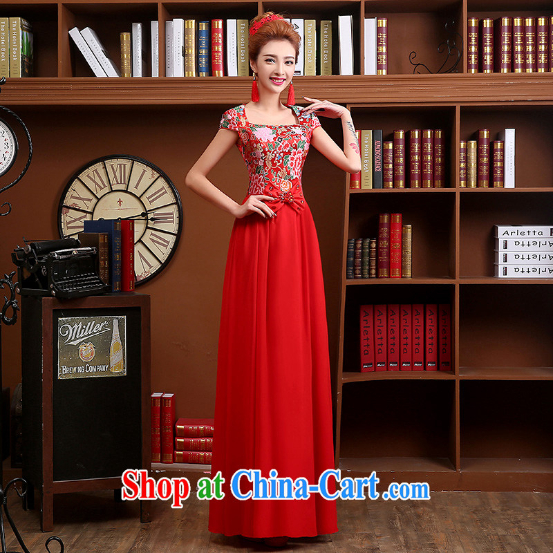 Sophie HIV than toasting Service Bridal wedding dresses stylish long dresses 2015 new summer short-sleeved red T-su Wo service wedding cheongsam dress female Red XXL