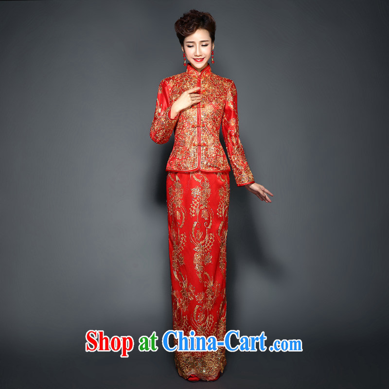 Winter outfit, red quilted Chinese wedding dress show reel service 2015 new long-sleeved, the cotton wool collar toast fall service bridal dresses skirt new package mail thin XL