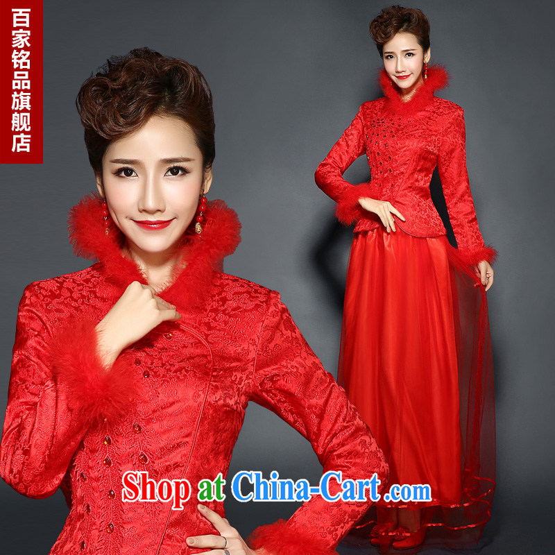 Red dresses winter clothing long-sleeved wedding dresses winter hair clip cotton thick bridal with 2015 new stylish and slim body bows serving new promotional package mail Red. size 7 day shipping