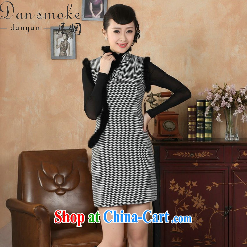 Dan smoke Tang Women's clothes dresses fall and winter season with new, for Chinese improved tartan wool? rabbit hair collar cheongsam dress - A 2 XL